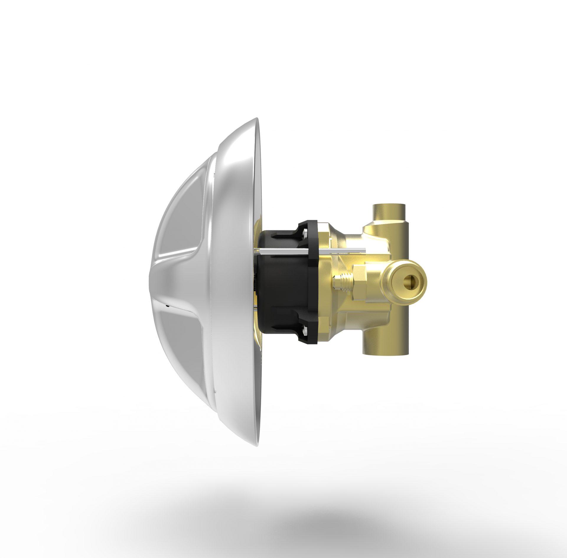 Ligature Resistant Shower Valve, Handle, & Escutcheon Plate Side Angle