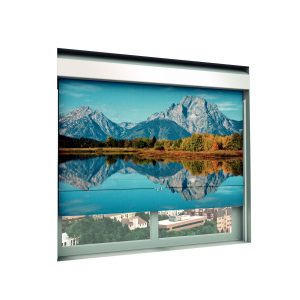 WebbLok Suicide Resistant Solar Screen Shade with mountain range scene