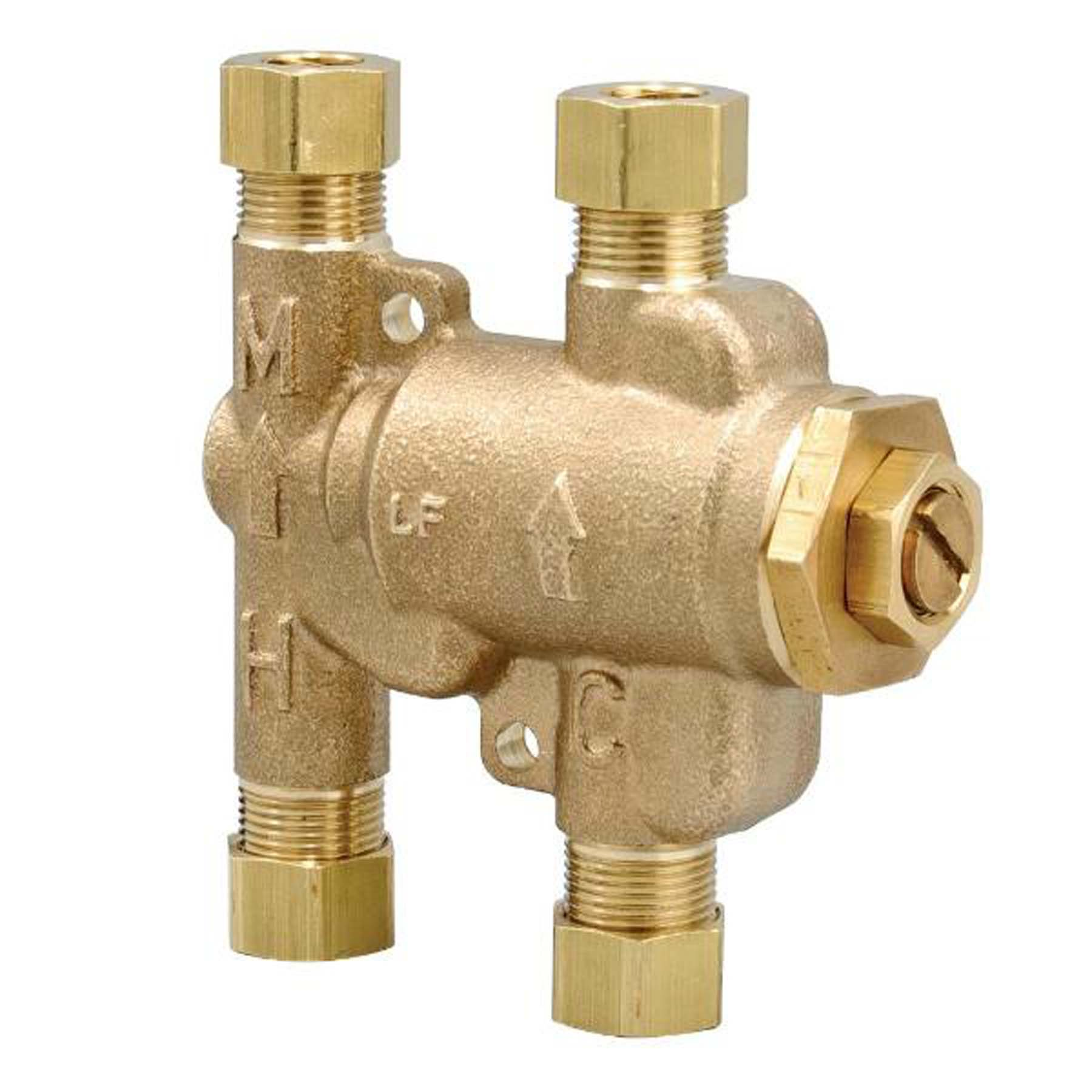 Lead-free mini thermostatic mixing valve for ligature resistant faucets
