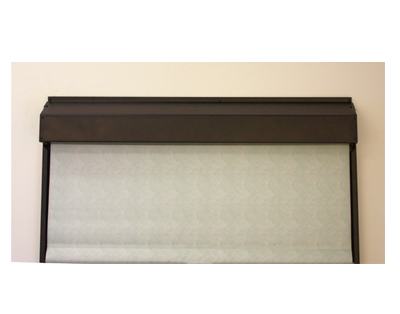 WebbLok Suicide Resistant Solar Screen Shade on a window in expresso color