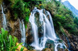 waterfall on mountain range