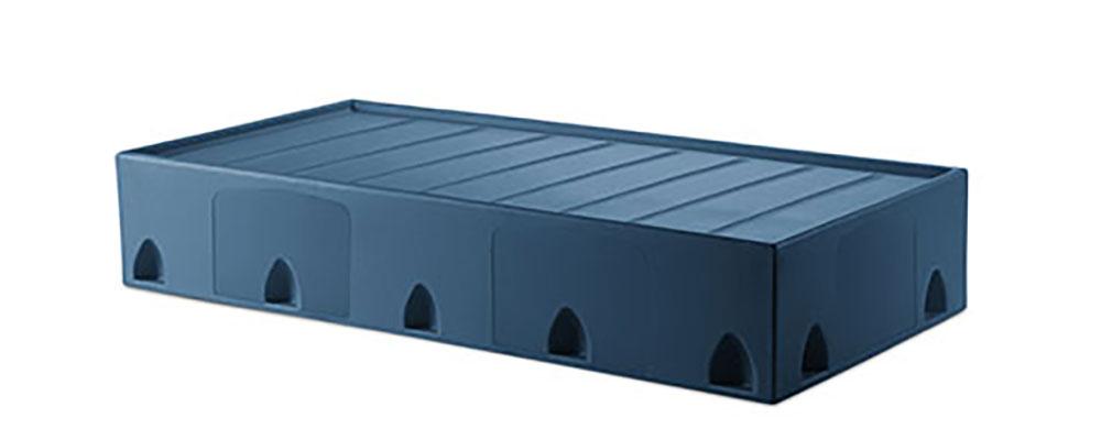 Suicide resistant attenda floor mount bed in Lagoon color option