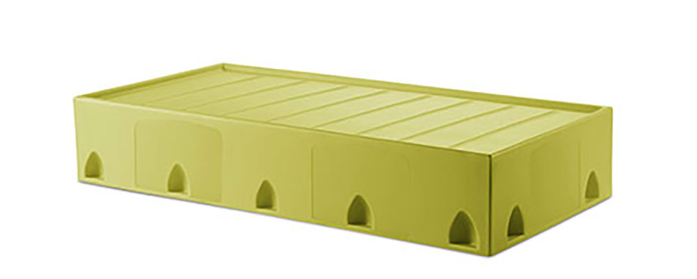 Suicide resistant attenda floor mount bed in Meadow color option