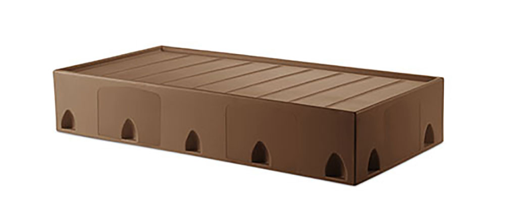 Suicide resistant attenda floor mount bed in Pine Cone color option