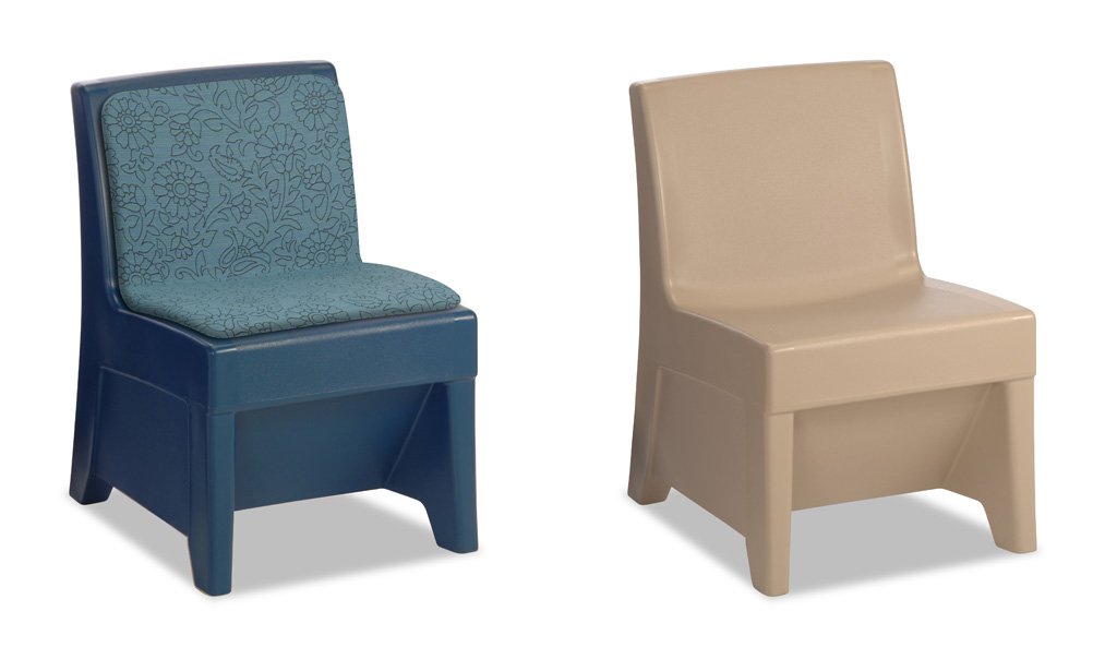 Two color and seating options for the suicide resistant forte armless chair