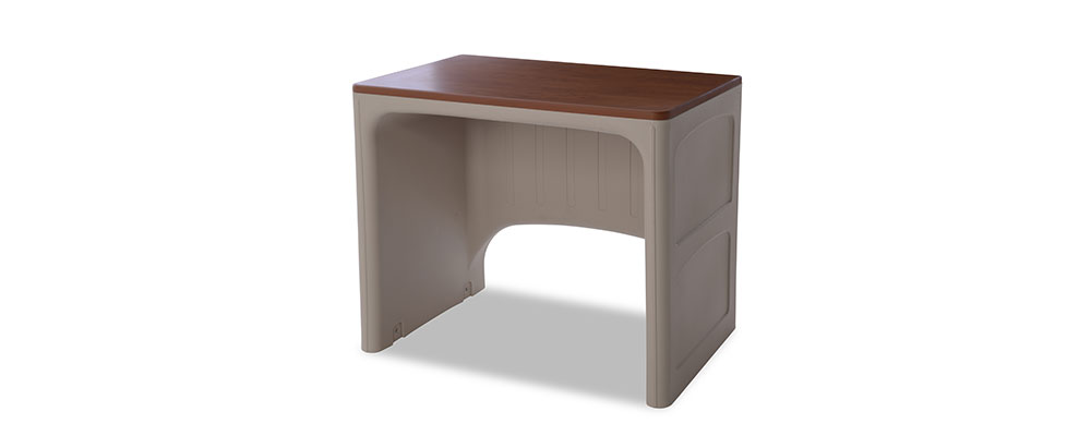 Suicide resistant attenda desk in River Rock color option