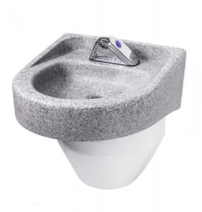 Ligature Resistant Sink and Trap Cover in gray