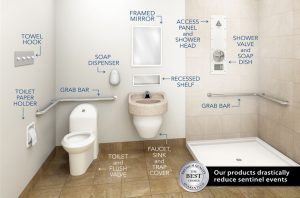 behavioral healthcare facility bathroom full of ligature resistant products labeled