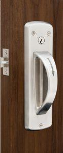 5-Point ligature resistant cylindrical door latch set installed on door