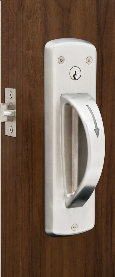 5-Point ligature resistant cylindrical door latch set installed on door