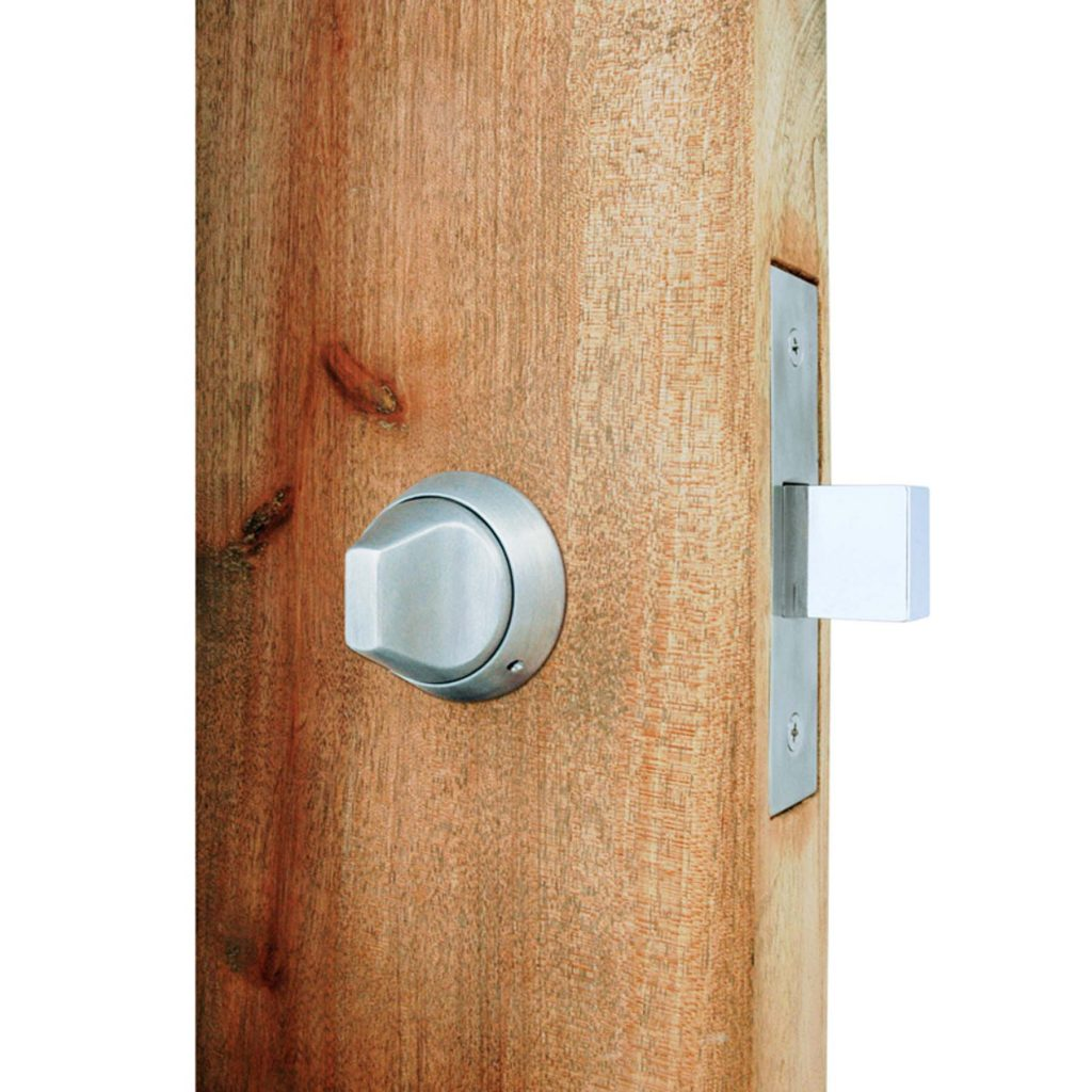 Close up of the deadbolt lock with ligature resistant thumb turn