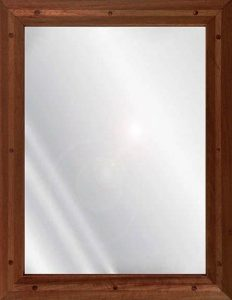 Ligature resistant wood framed stainless steel mirror in mahogany