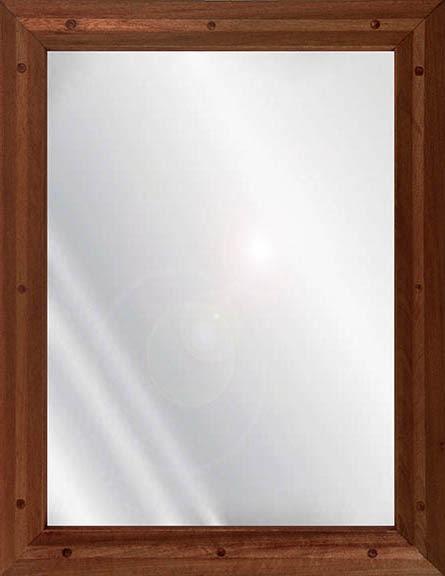 Ligature Resistant Wood Framed Stainless Steel Mirror - Mahogany