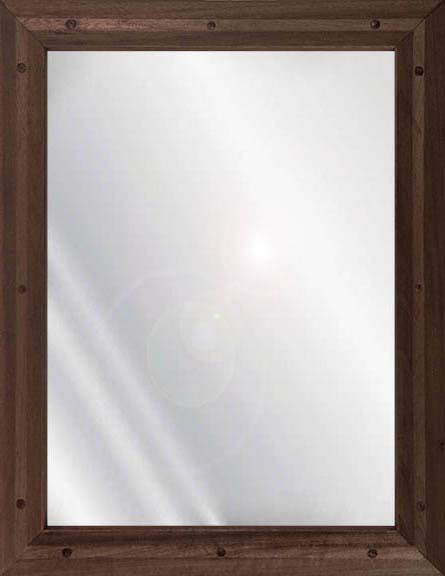 Ligature resistant wood framed stainless steel mirror in walnut