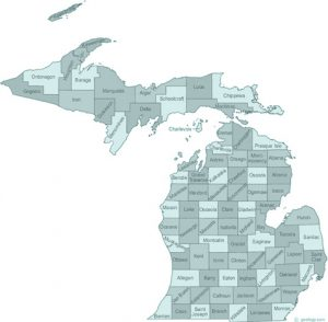 Michigan state with counties