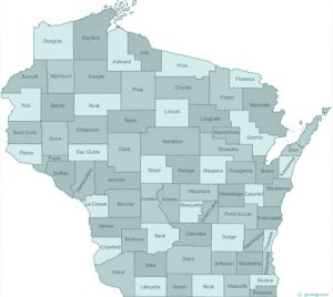 Wisconsin state with counties