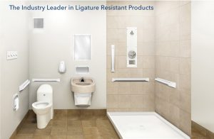 bathroom mockup with ligature resistant products installed