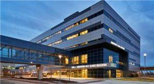 behavioral health facility hospital building at night