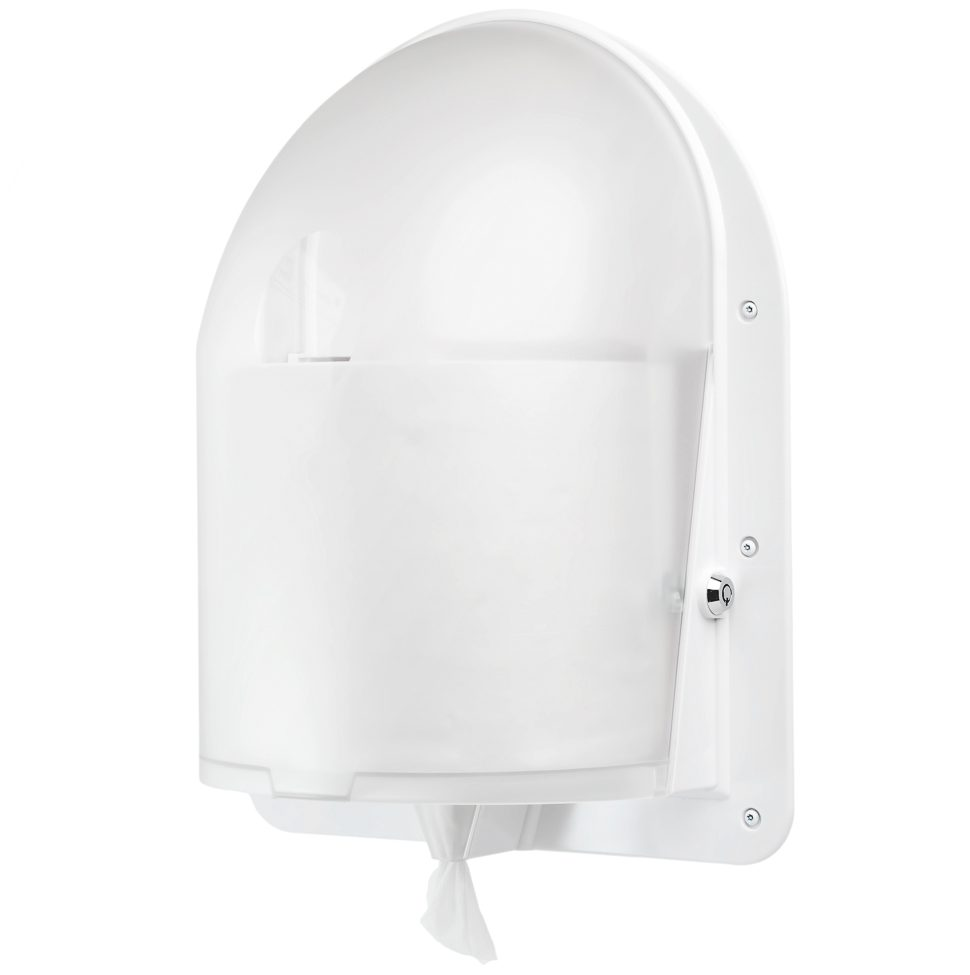 Angled front view of the ligature resistant paper towel dispenser
