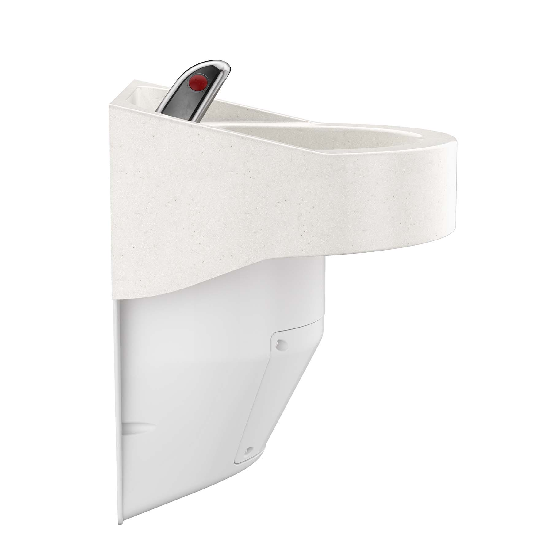 Ligature Resistant Sink and Trap Cover - Full Side Angle