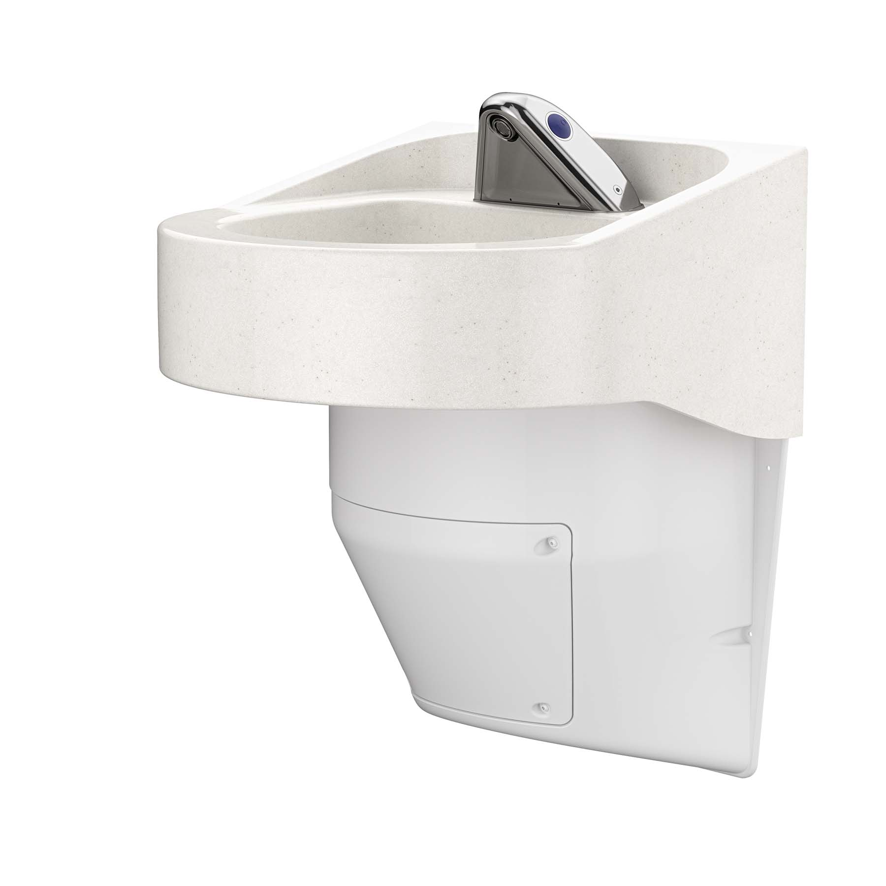 Ligature Resistant Sink and Trap Cover - Side Angle View