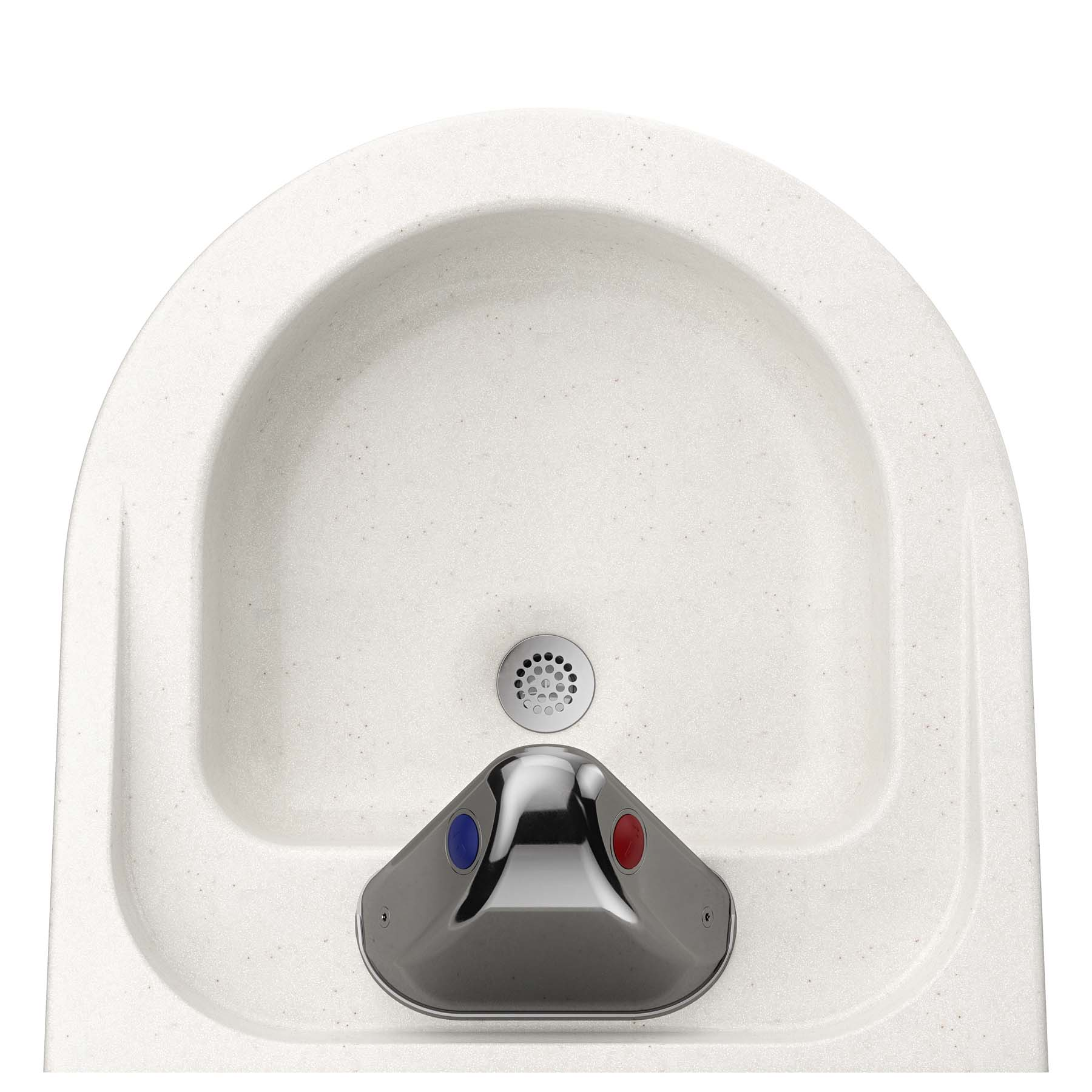 Ligature Resistant Sink and Trap Cover - Behind and On Top View